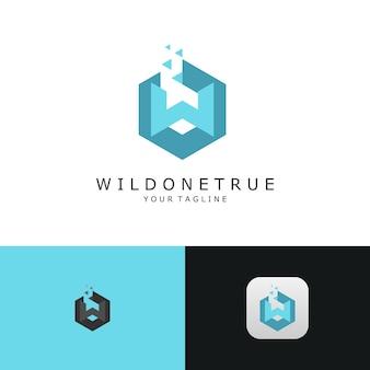 抽象的なロゴ、最初の文字w