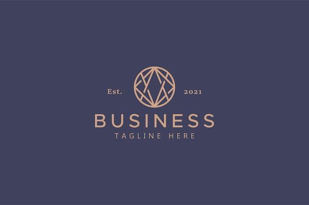 비즈니스 및 회사의 추상 로고. 범용 및 글로벌 기호 및 기호. 우아한 골드 컬러. 트렌드 원형 모양의 기하학적 개요.