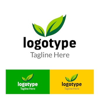 Abstract logo organic farm with green leaf element for food market