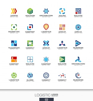 Abstract logo set for business company. corporate identity  elements. export, transport, delivery and distribution concepts. logistic, shipping logotype collection. colorful  icons