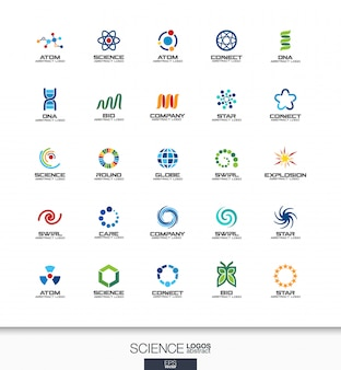 Abstract logo set for business company. corporate identity  elements. science, education, physics and chemical concepts. dna, atom, molecule, bio logotype collection. colorful  icons
