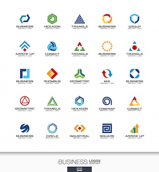 Abstract logo set for business company. corporate identity  elements. technology, banking, finance concepts. industrial, development, marketing logotype collection. colorful  icons