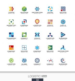 사업 회사에 대 한 추상 로고 설정합니다. 기업의 정체성 요소. 수출, 운송, 배송 및 유통 개념. 물류, 배송 로고 타입 컬렉션. 화려한 아이콘