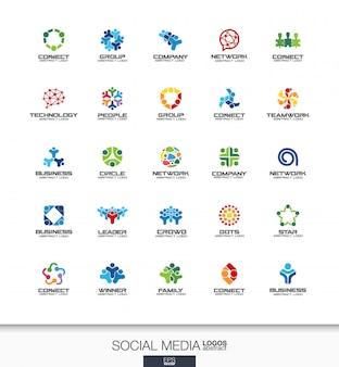 사업 회사에 대 한 추상 로고 설정합니다. 기업의 정체성 요소. 네트워크, 소셜 미디어 및 인터넷 개념. 사람들이 연결, 가입자, 추종자 로고 타입 컬렉션. 화려한 아이콘