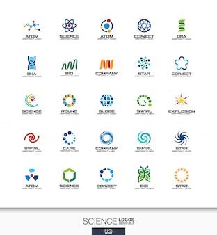 事業会社の抽象的なロゴを設定します。コーポレートアイデンティティの要素。科学、教育、物理学、化学の概念。 dna、原子、分子、バイオロゴタイプコレクション。カラフルなアイコン