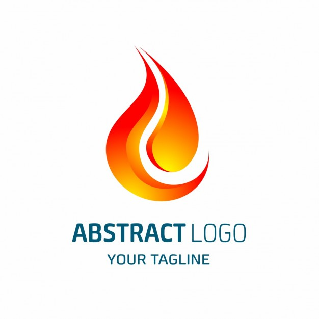 Abstract logo shaped red flame