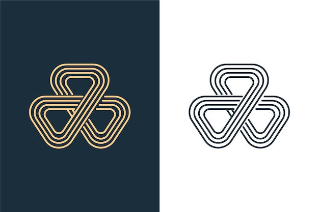 Abstract logo in two versions blue and white
