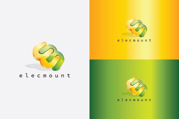 전자, 전기, 디지털, 컴퓨터, 컴퓨팅 산업에 적합한 문자 e 및 m이 있는 추상 로고 벡터