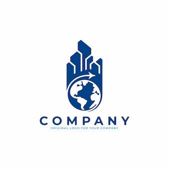 Абстрактный логотип с концепцией самолета вокруг земли. подходит для деловых поездок и т. д.
