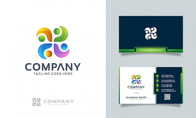 Abstract logo with business card