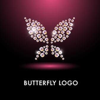 蝶の文字と抽象的なロゴ。ラインストーンの宝石で作られたシンプルな昆虫のアイコン。花屋、洋服屋、子供のおもちゃ屋、芸術ギャラリー、プリントデザインに最適です。
