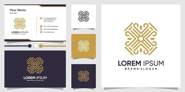 Abstract logo with cool building shape style and business card design