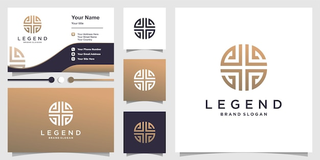 黄金の創造的なラインの概念と名刺デザインテンプレートと抽象的なロゴ