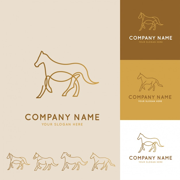 Abstract logos collection of horses