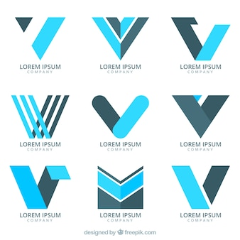 abstract-logos-collection-letter-v-flat-design_23-2147642279 Vv Letter Template on letter dd template, letter ii template, letter ll template,