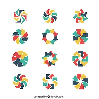 花のスタイルで抽象的なロゴ