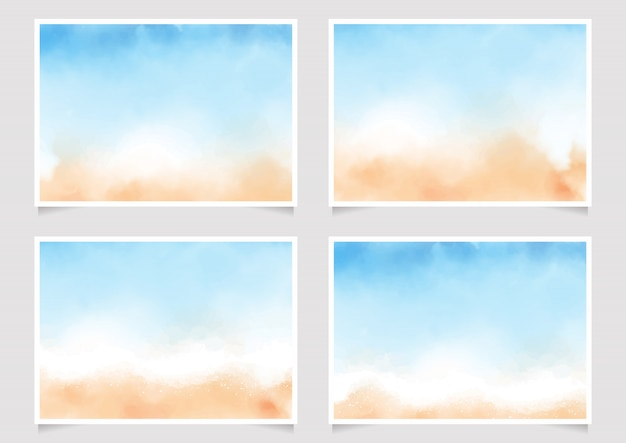 Abstract loose blue and sand beach watercolor poster 5x7 horizantal