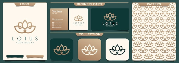 Abstract lotus flower logo icon line art style