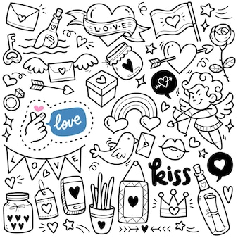 Abstract love concept black and white doodle illustration