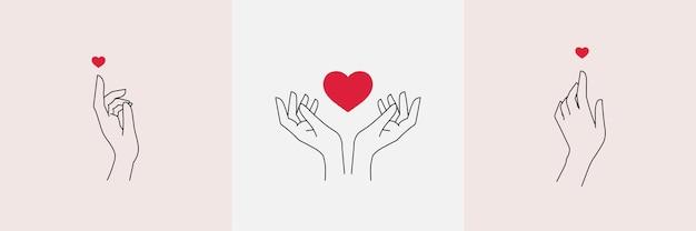 抽象的な愛の手セット最小限の女性の輪郭の指と心ベクトル図