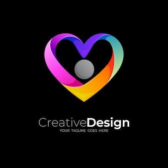抽象的な愛のロゴとチャリティーアイコンテンプレート、カラフルな人々のロゴ