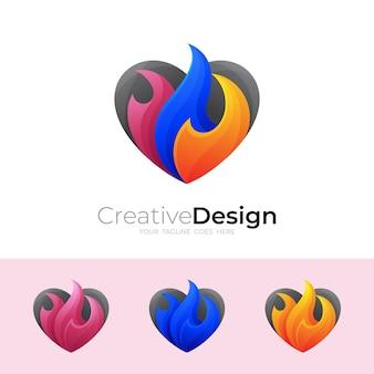 추상 사랑 로고와 화재 디자인 벡터