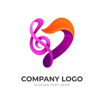 Abstract love music logo vector, love and music, combination with 3d colorful style