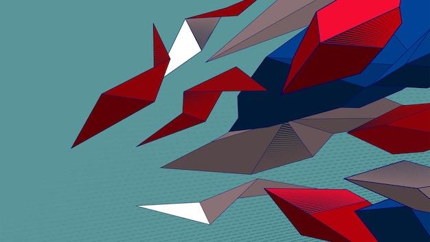 추상 낮은 폴리 배경 파란색 빨간색 흰색 다각형 요소