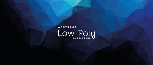 Abstract low poly banner with deep ocean light shade