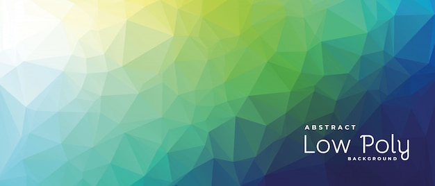 Abstract low poly banner with green light shade