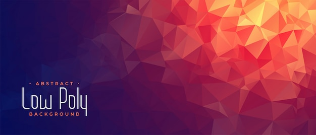 Abstract low poly banner with orange light shade