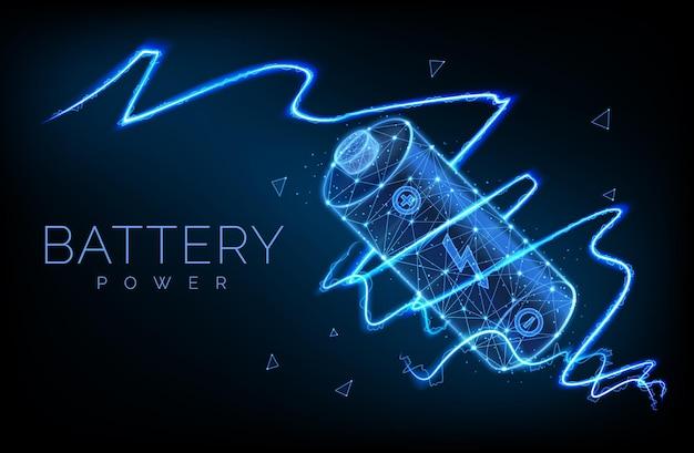 Абстрактный низкополигональный заряд аккумулятора от электрического разряда или молнии