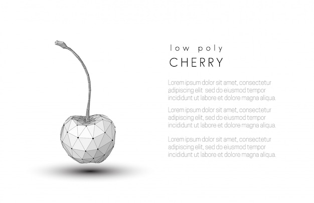 Abstract low poly black and white cherry