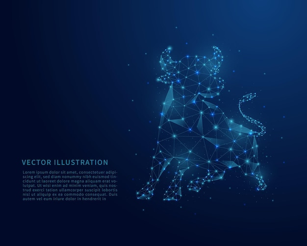 Abstract low poly bull. polygonal wireframe mesh on blue background.