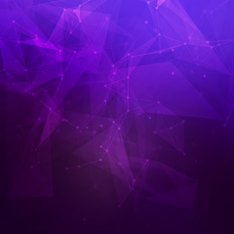 Abstract low poly dark purple bright technology  background. connection structure.  data science background. polygonal  background. molecule and communication background.