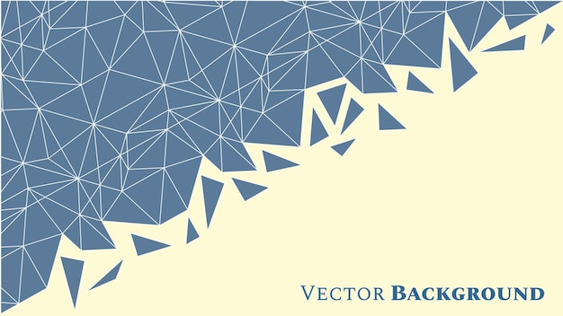 青い色の三角形とテキスト用のスペースを持つ抽象的な低ポリの幾何学的な背景。モザイクテクスチャ。ベクトルイラスト。
