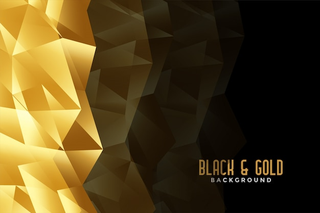 Abstract low poly golden and black background