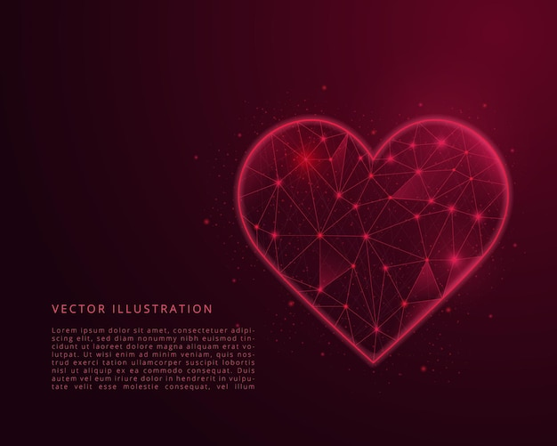 Abstract low poly heart. polygonal wireframe