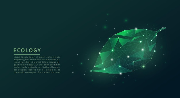 Abstract low poly leaf. ecology concept.