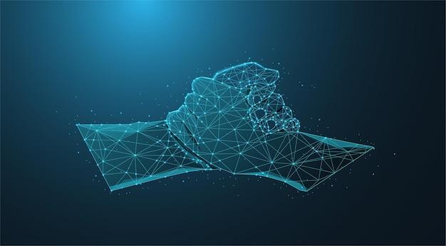 블루 라이트 기하학적 다각형 및 삼각형 스타일을 사용한 비즈니스 핸드셰이크의 추상 낮은 폴리 와이어프레임 또는 점, 선 및 모양을 협력 형태로 연결하는 구조입니다.