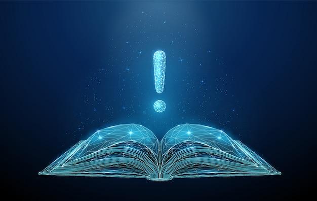 Абстрактная низкая поли открытая книга с восклицательным знаком. Premium векторы