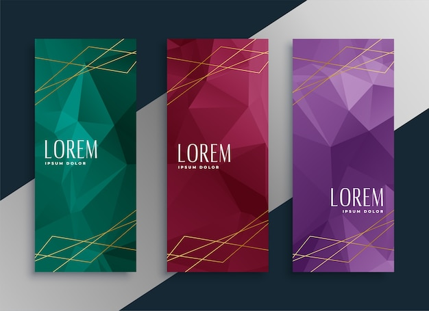 Abstract low poly style premium banners set