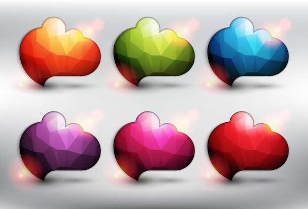 Abstract low poly style speech bubbles set of 6. cloud icons. bubble balloons quote. isolated on the white background.