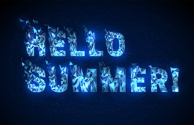 Abstract low poly style text hello summer lettering