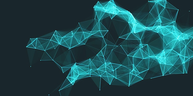 Abstract low poly technology banner design with connecting lines and dots