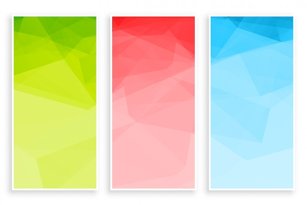 Abstract low poly triangle colors banner set