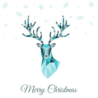 青いトナカイと抽象的な低ポリ三角形の鹿の頭のクリスマスグリーティングカード