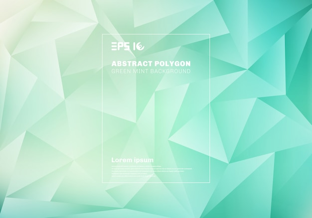 Abstract low polygon or triangles pattern on blue green mint background and texture.