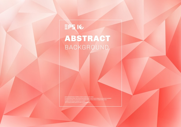 Abstract low polygon or triangles pattern on pink background