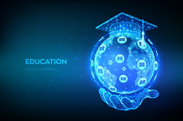 Abstract low polygonal graduation cap on planet earth globe model map in hand. e-learning concept. online education.